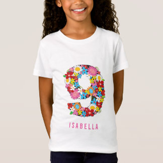 Frühlings-Blumen nummerieren der neun Mädchen-9. T-Shirt