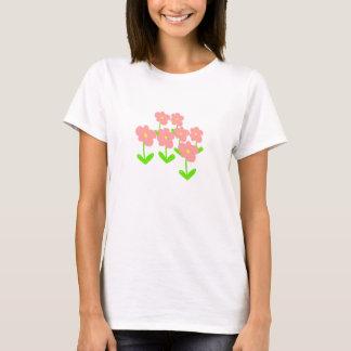 Frühlings-Blumen rosa und grüne Blumen T-Shirt
