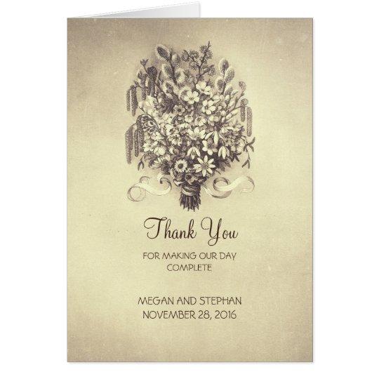 Frühlings-Blumen-Vintage Hochzeit danken Ihnen Karte