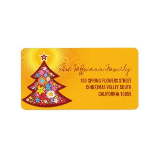 Frühlings-Blumen-Weihnachtsbaum-Adressen-Etiketten Adressaufkleber