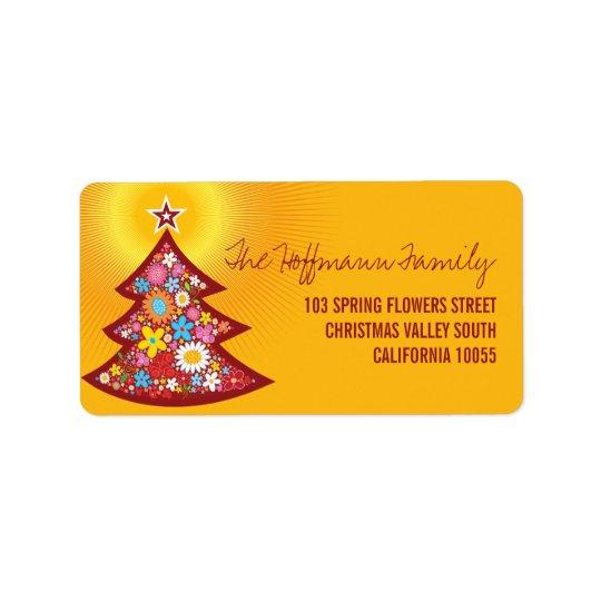 Frühlings-Blumen-Weihnachtsbaum-Adressen-Etiketten Adressetiketten