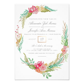 Frühlings-BlumenAquarell Wedding   12,7 X 17,8 Cm Einladungskarte