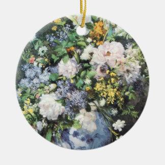 Frühlings-Blumenstrauß durch Pierre Renoir, Rundes Keramik Ornament