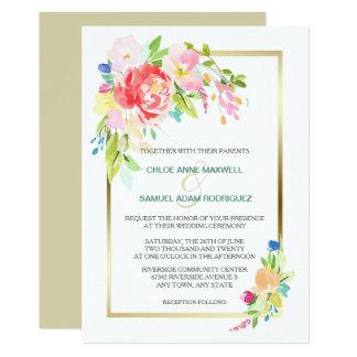 Frühlings-Blumenstrauß-Goldrahmen-Hochzeit 12,7 X 17,8 Cm Einladungskarte