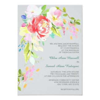 Frühlings-Blumenstrauß-Grenzformale Hochzeit 12,7 X 17,8 Cm Einladungskarte