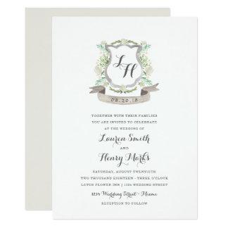 Frühlings-BlumenWappen-Hochzeits-Einladung 12,7 X 17,8 Cm Einladungskarte