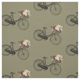 Frühlings-Gewebe Taupe der Fahrradfahrrad-Blume Stoff