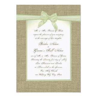 Frühlings-grüne Leinwand und Bogen-Land-Hochzeit 14 X 19,5 Cm Einladungskarte
