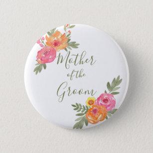 Frühlings-Hochzeits-Blumen Mutter des Bräutigams Runder Button 5,1 Cm