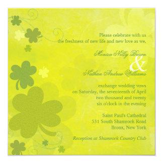 Frühlings-irische Kleeblatt-grüne Hochzeit Quadratische 13,3 Cm Einladungskarte