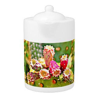 Frühlings-Kaktus-Birnen-Tee-Topf