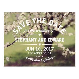 Frühlings-Kirschblüten-Save the Date Postkarte