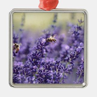 Frühlings-Lavendel mit Bienen-lila Blumen Silbernes Ornament
