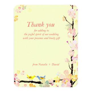 Frühlings-Liebe-Vogel-sahnige Hochzeit danken Karte