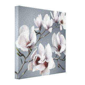 Frühlings-Magnolienblüte, Rosa, weich Grau Leinwanddruck