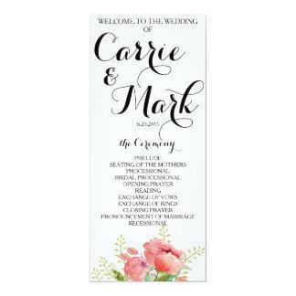 Frühlings-Pfingstrosen-Hochzeits-Programm 10,2 X 23,5 Cm Einladungskarte