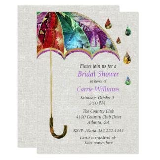 Frühlings-Regenschirm-Brautparty-Einladung Karte