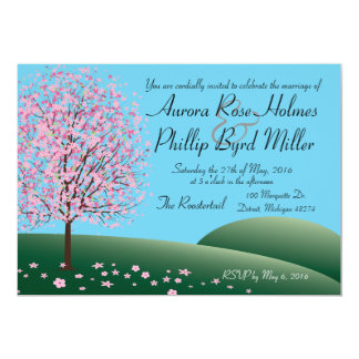 Frühlings-rosa Blumen-Baum-Hochzeits-Einladung 12,7 X 17,8 Cm Einladungskarte
