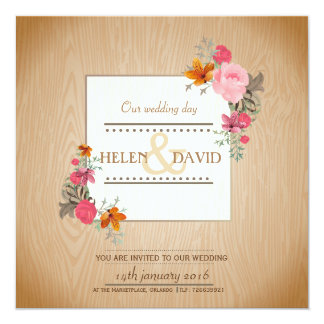 Frühlings-schönes elegantes - Hochzeits-Einladung Quadratische 13,3 Cm Einladungskarte