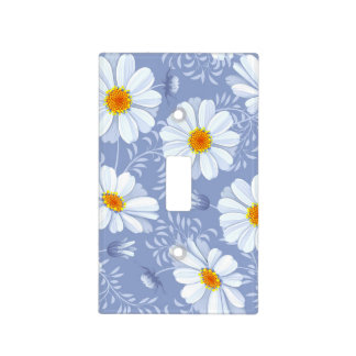 Spring Summer White Flower Blue Pattern