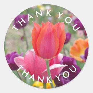 Frühlings-Tulpe-Blumen danken Ihnen Runder Aufkleber