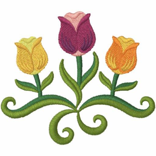 Frühlings-Tulpe-Trio Bestickte Jacken