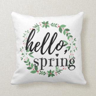 Frühlings-Wurfs-Kissen - hallo, Frühling Kissen
