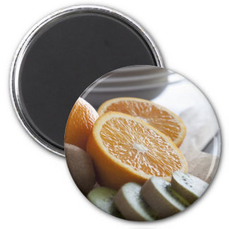 Fruit frais pour l'aimant de petit déjeuner magnet rond 8 cm