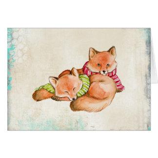Füchse in der Schal-Weihnachtskarte Karte
