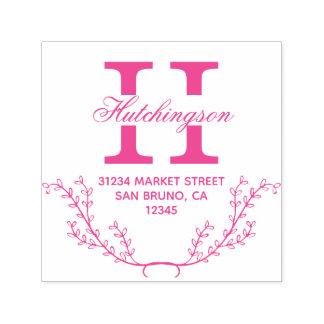 Fuchsie Hand-gezeichnete Wreath-Rücksendeadresse Permastempel