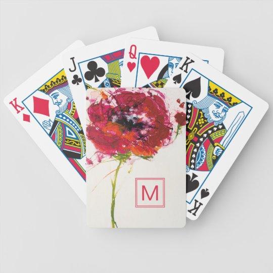 Fügen Sie Ihre Mohnblume des Monogramm-| auf Weiß Bicycle Spielkarten