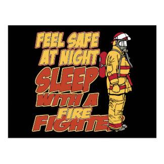 Fühlensicheres, Schlaf mit einem Feuerwehrmann Postkarten