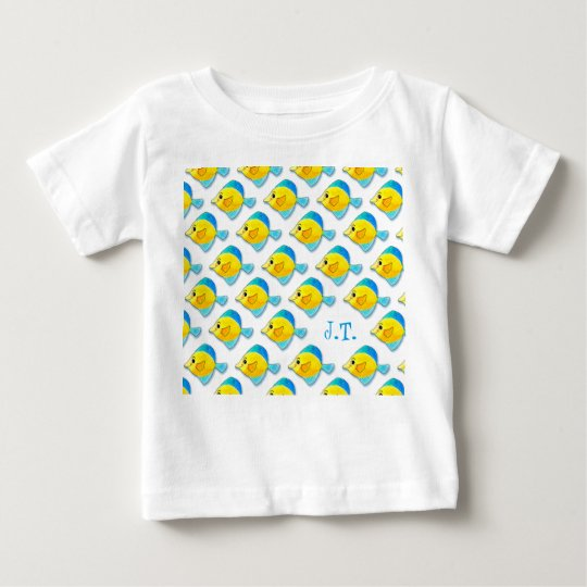 Fünf blau und gelbe Fisch-Gruppierung Baby T-shirt