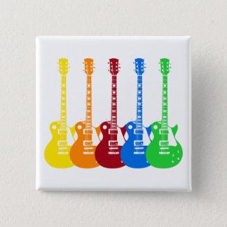 Fünf E-Gitarren Quadratischer Button 5,1 Cm