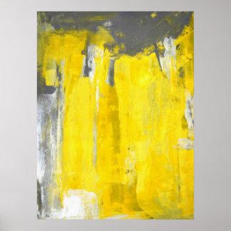 """""""Fünftes"""" graues und gelbes abstraktes Poster"""