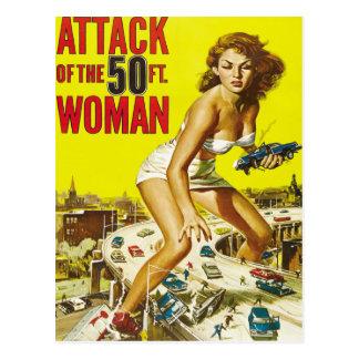 Fünfzig Fuß-alien-Frauen Postkarte
