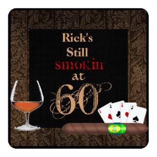 Fünfzig Geburtstag Zigarren, Poker und Quadratische 13,3 Cm Einladungskarte