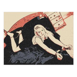 Fünfzig Schatten sexy Blondine der Schleifenkunst Postkarte