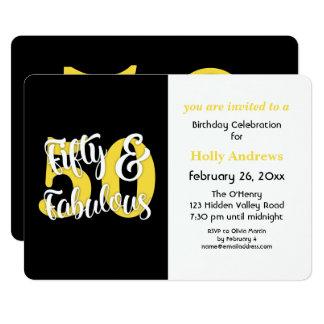 Fünfzig u. fabelhaftes gelbes 12,7 x 17,8 cm einladungskarte