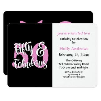 Fünfzig u. fabelhaftes rosa 12,7 x 17,8 cm einladungskarte