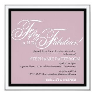 Fünfzig und fabelhafte 50. Geburtstags-Party Quadratische 13,3 Cm Einladungskarte