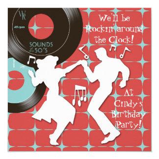 Fünfzigerjahre Thema-Geburtstags-Party Quadratische 13,3 Cm Einladungskarte