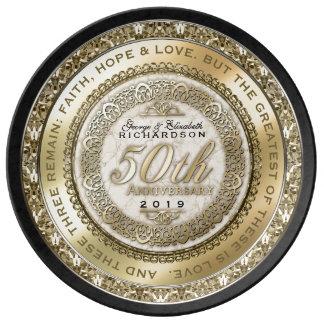 Fünfzigster Hochzeitstag-Goldzitat-Marmor Teller Aus Porzellan