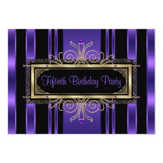 Fünfzigstes der Geburtstags-Party der lila 12,7 X 17,8 Cm Einladungskarte