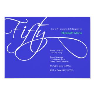 Fünfzigstes Geburtstags-Party - kundenspezifische 12,7 X 17,8 Cm Einladungskarte