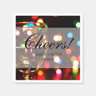 Funkeln-Schein Bokeh heller Champagne Glas-Beifall Papierservietten