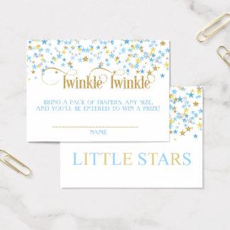 Funkeln-Stern-Zwillings-Windelraffle-Blau-Gold Visitenkarte