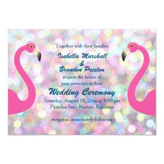 Funkelnd Flamingo-Hochzeits-Einladung Karte
