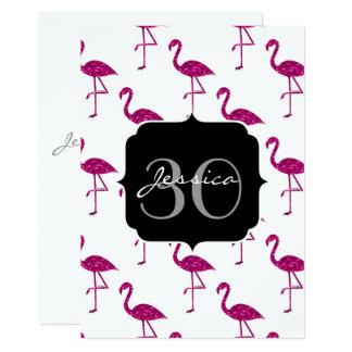 Funkelnd Flamingo Rosamuster Monogrammeinladung Karte