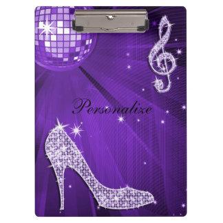 Funkelnd purpurrote lila Musik-Anmerkung u. Klemmbrett